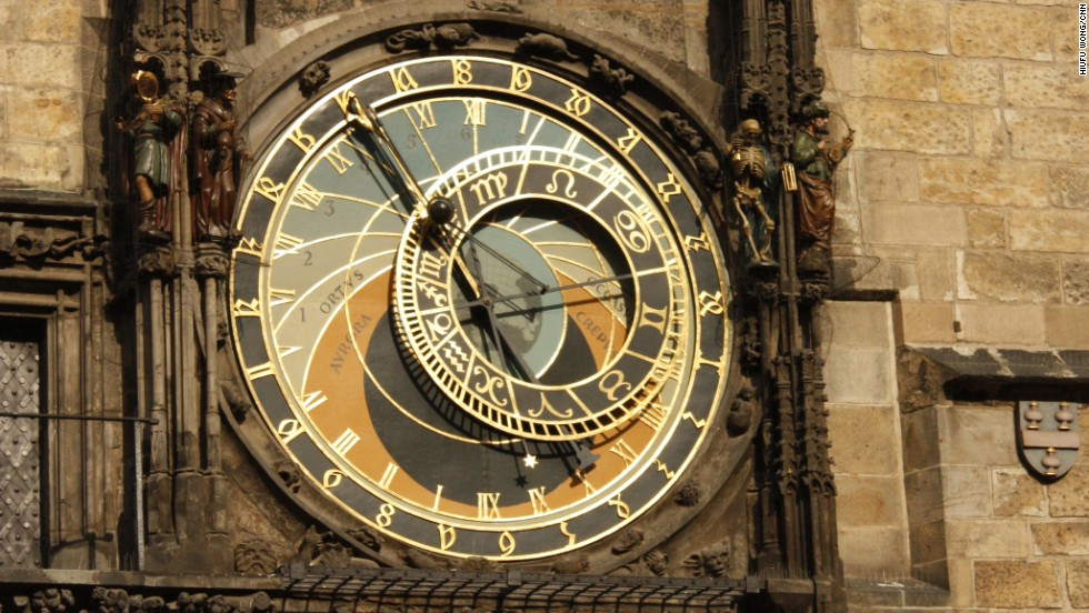 <strong>Old Town Astronomical Clock, Prague, Czech Republic</strong><br /><strong>Completed: </strong>1410<br /><strong>Height: </strong>59 meters (193 feet)<br /><strong>Builders: </strong>Co-built by clockmaker Mikulas of Kadane and Jan Sindel, a mathematics and astrology professor at Charles University in Prague.<strong><br />Observation deck</strong><br />For $5, visitor can tour the tower and access the observation deck, which sits above the clock.<br /><strong>Special features</strong><br />Each hour from 9 a.m. to 9 p.m., models of the Twelve Apostles are set in motion. Each has a distinctive feature -- St. Peter for example is holding a key (to the Kingdom of Heaven). Other figures standing next to the dial include a Grim Reaper and a man looking into a mirror, representing mankind's vanity.<em><br />More on Prague's Old Town Astronomical Clock the next slide.</em>