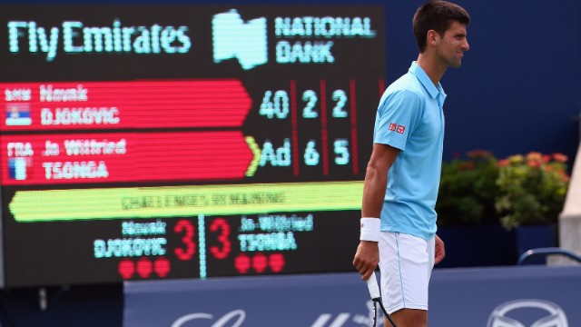 Novak Djokovic on the verge of defeat in the Toronto Masters.