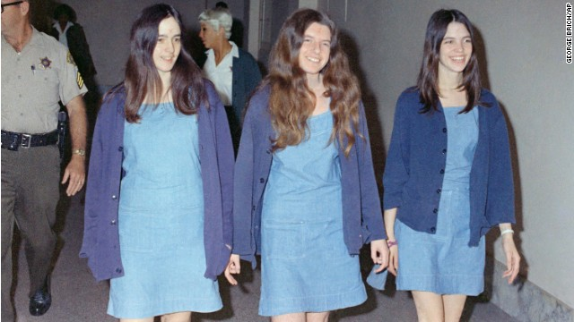 Susan Atkins, Patricia Krenwinkel and Leslie Van Houten, shown walking to court to appear for their roles in the murders.