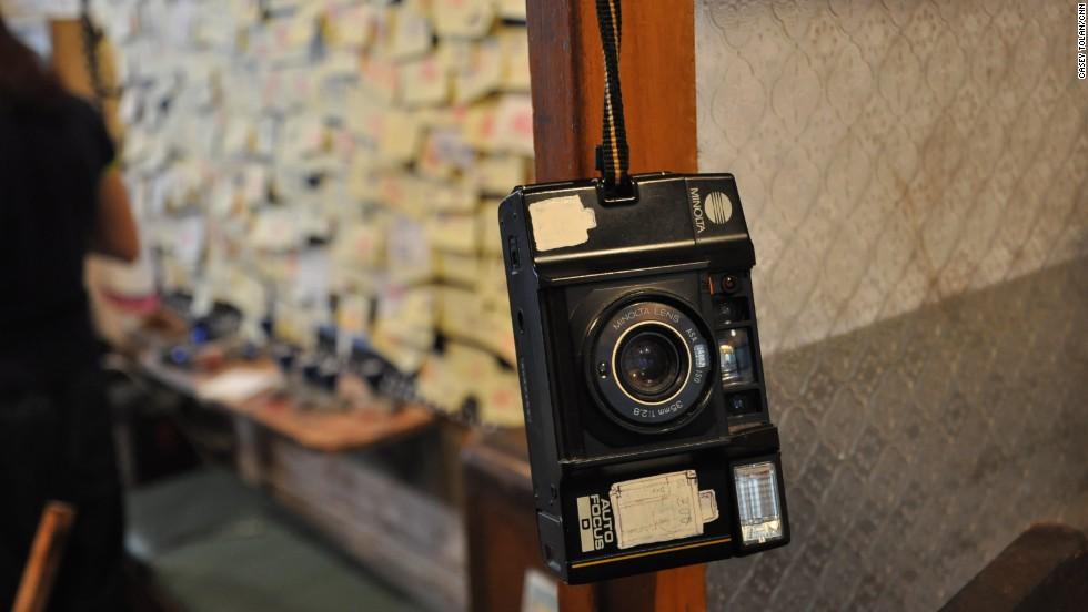 The House of Stories is full of old knickknacks -- like this camera -- donated by neighbors who have moved out.