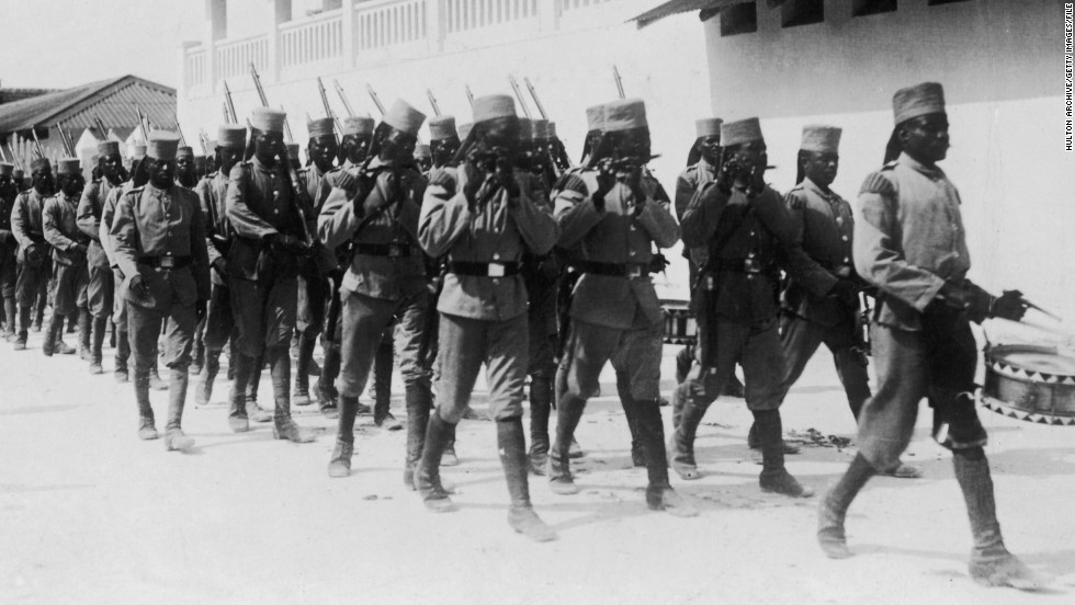 Locally recruited troops under German command in Dar Es Salaam, Tanzania (then part of German East Africa), circa 1914.