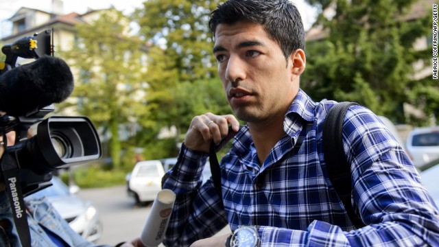 Luis Suarez arrives for his appeal at the CAS in Lausanne against his four-month biting ban imposed by FIFA.