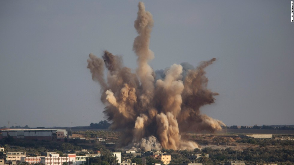 Smoke rises in Gaza City after an airstrike on Saturday, August 9.