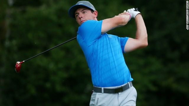 Rory McIlroy of Northern Ireland hits his tee shot on the sixth hole during the third round of the 96th PGA Championship at Valhalla Golf Club.