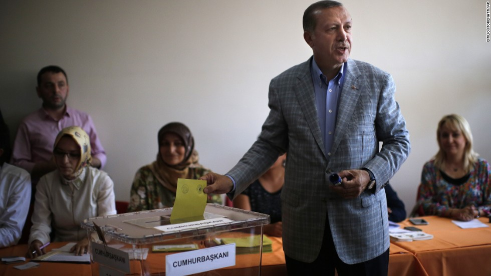 Erdogan casts his vote at a polling station on August 10 in Istanbul.