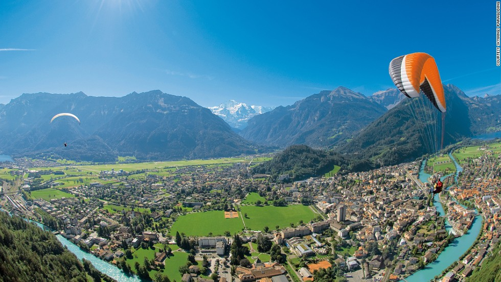 The gorgeous panoramas from Beatenberg to Interlaken help distract from the fact that there's little more to hold the paraglider in the alpine air other than air currents.