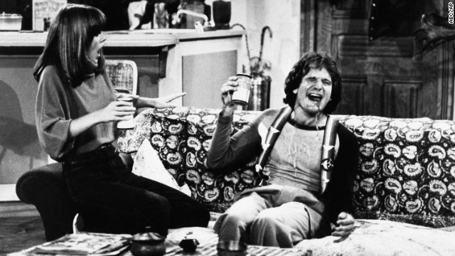 Actor Robin Williams and Actress Pam Dawber on the set of ABCs Mork and Mindy, Jan., 1979.