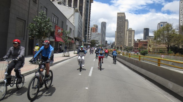 Cyclists own the streets of Bogota (on Sundays).