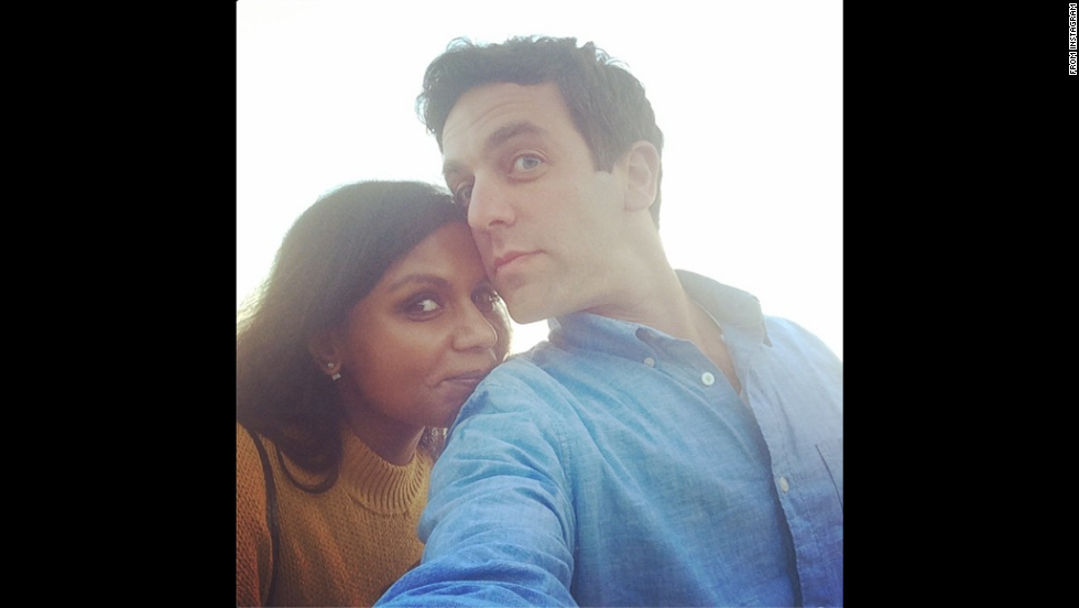 "Actors Mindy Kaling and B.J. Novak <a href=""http://instagram.com/p/risKKZJQ6c/"" target=""_blank"">take a photo together</a> at a beach in Malibu, California, on Sunday, August 10."