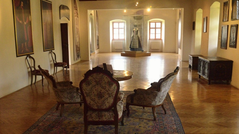 Next to the 14th-century church of St. Ladislav, the Cachtice Museum has a room dedicated to Bathory, with portraits of the Countess and other artifacts related to her life.