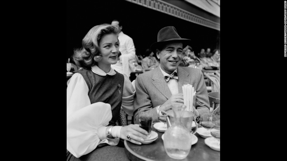 Bogart and Bacall in a cafe In Paris in 1950.
