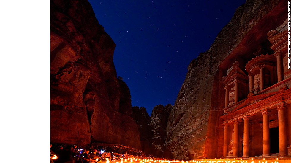 The historic ruins of Petra are stunning by day, but become dazzling after dark when the ancient city is awash in the glow of thousands of candles.