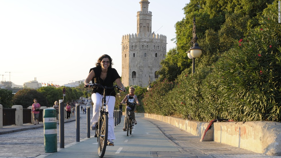 In six years, Seville's use of bikes shot from less than 1% to about 7%. The city's implementation of the rental-bike plan, Sevici, makes biking for locals and tourist simple.