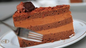 A chocolate truffle torte cake is seen in Vienna on April 20, 2013. Cakes and pastries are a very popular feature of Austria's cuisine. AFP PHOTO / ALEXANDER KLEIN (Photo credit should read ALEXANDER KLEIN/AFP/Getty Images)