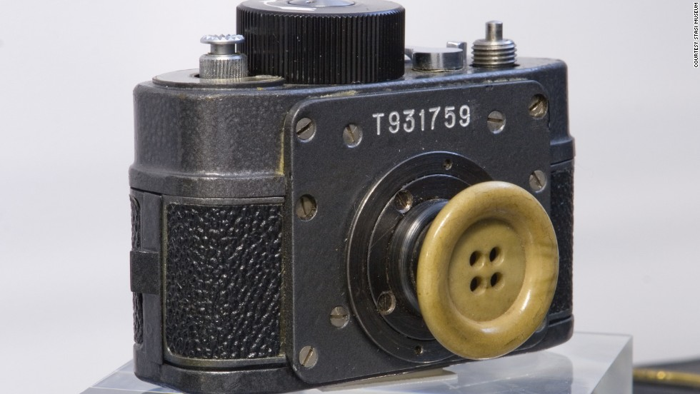 A miniature camera disguised as a button, on display in Berlin's Stasi Museum, shows the lengths to which East Germany's spies went to keep tabs on their rivals, and fellow citizens.
