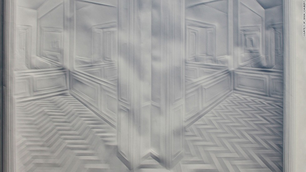 Much of Simon Schubert's work has an architectural theme. The absence of color creates a ghostly, ethereal effect that ironically attracts attention in galleries because of its lack of color.
