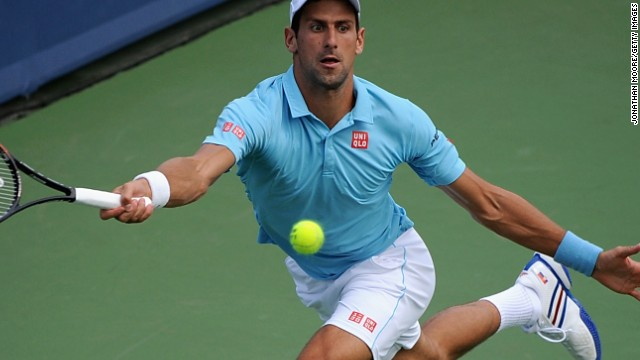 Novak Djokovic at full stretch during his third round defeat to Tommy Robredo in Cincinnati.