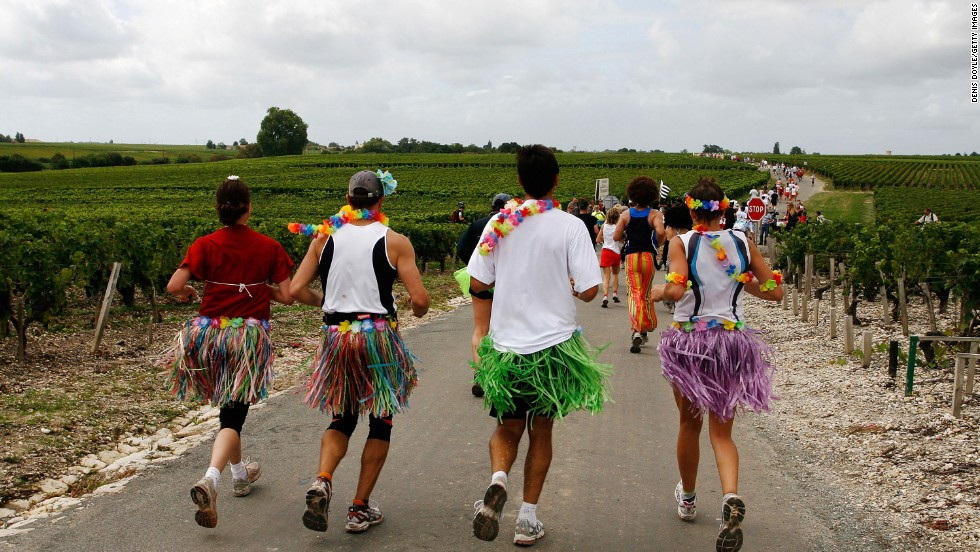 The Medoc Marathon, held on on September 13, 2014, will see 10,000 competitors strive to run 26 miles and sample as many glasses of wine as they can handle.