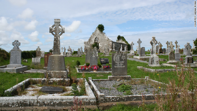 Some of the author's relatives are buried in graves without headstones in this cemetery among the abbey ruins at Kilshanny.