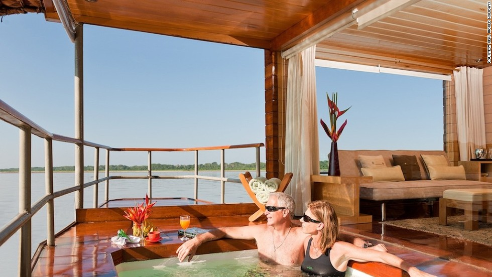 <strong>Luxury Amazon cruise (Peru)</strong>: From your hot tub you can watch the howler monkeys swing from the trees while you sip Champagne and chow down on the fish caught that morning.