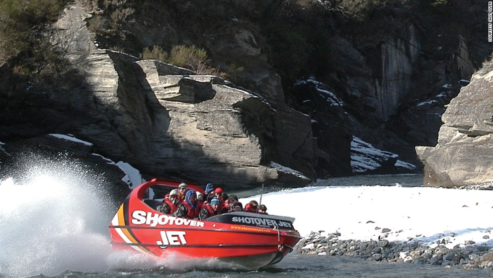 <strong>Jet boat tour (New Zealand)</strong>: Passengers speed down Queenstown's narrow canyons in a jet boat powered by V8 engines, hitting speeds of up to 85 kilometers per hour in as little as three inches of water.