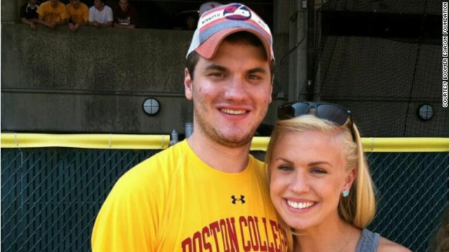 Gunnar Esiason with his sister Sydney at a Boston College football game tailgate.