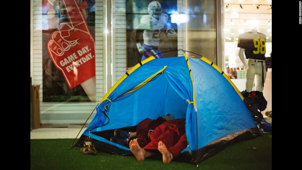 Guests sleep in a tent that they pitched next to the gift shop. People came from as far away as Hawaii to be among the first to tour the Hall of Fame.
