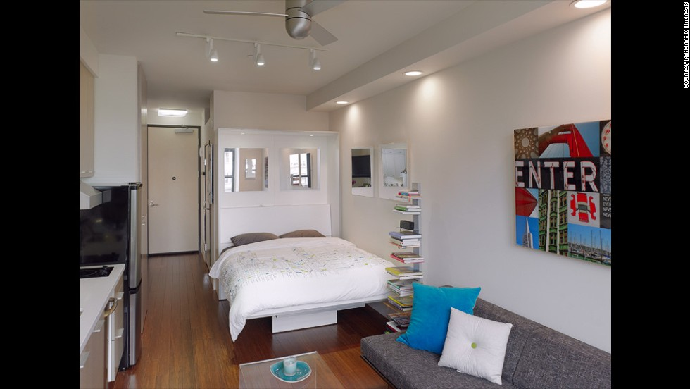 The LEED Platinum-rated SmartSpace SoMa condo boasts 295-square-foot units that emphasize utility and optimized space. The queen bed, for example, can be converted into a table that seats six.