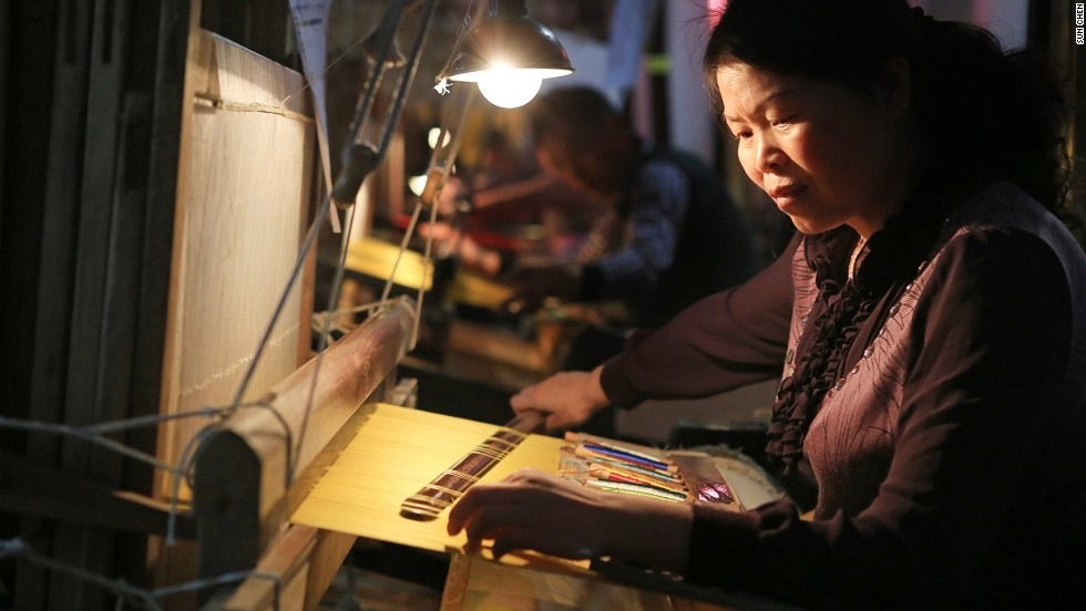 Dating back more than 1,500 years, authentic brocade is still produced with old-fashioned wooden weaving machines.