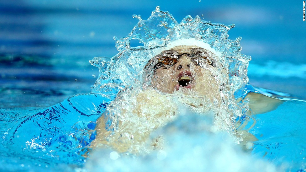 Chinese swimmer Li Guangyuan competes in the men's 100-meter backstroke Saturday, August 18, at the Youth Olympic Games in Nanjing, China. He finished third in the final.