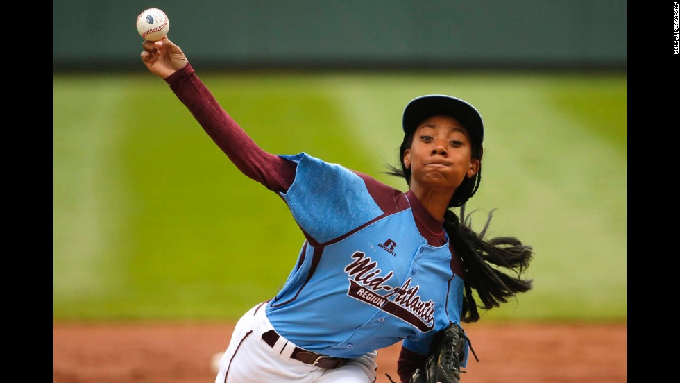 Philadelphia pitcher Mo'ne Davis delivers a pitch Friday, August 15, at the Little League World Series in South Williamsport, Pennsylvania. The 13-year-old became the first girl to ever throw a shutout in the Little League World Series.
