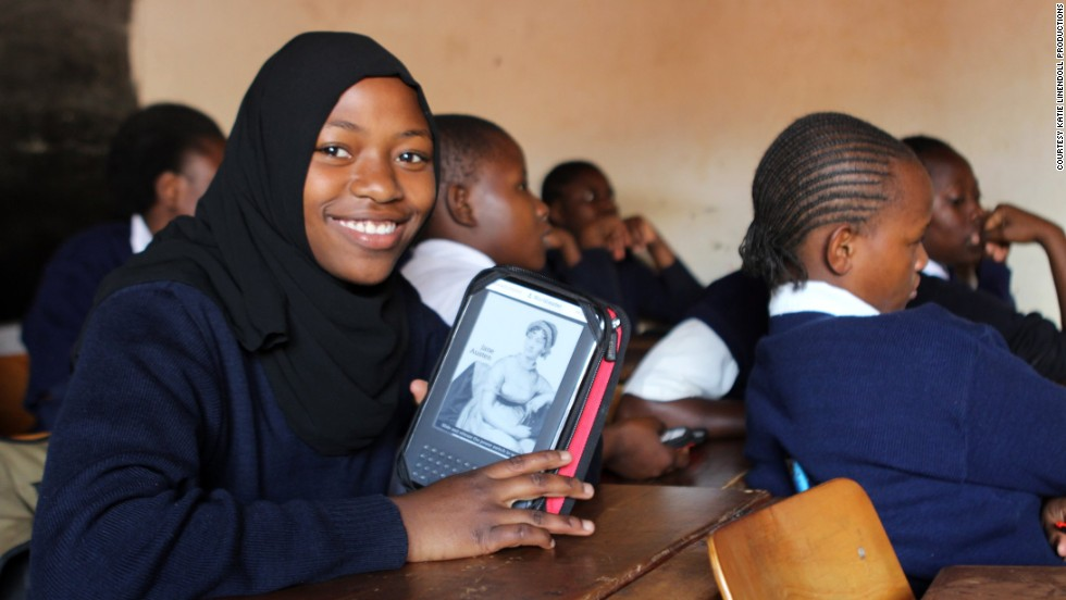 Worldreader is a nonprofit that brings e-readers and e-books to students in developing countries as a way to facilitate literacy. A student in Kibera, Kenya, displays her e-reader in a classroom.