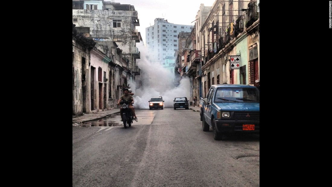 "CUBA:  ""Trying to outrun the fumigation truck in Havana. Attempting to control the outbreak of dengue, Cuban health authorities blitz whole neighborhoods with chemicals that supposedly kill the mosquitoes spreading the disease."" - CNN's Patrick Oppmann, August 2014.<br />Follow <a href=""http://instagram.com/cubareporter"" target=""_blank"">@cubareporter</a> and other CNNers on the <a href=""http://instagram.com/cnnscenes"" target=""_blank"">@cnnscenes</a> gallery on Instagram for more images you don't always see on news reports from our teams around the world."