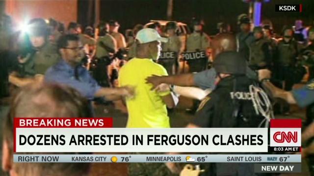 Dozens arrested in Ferguson clashes