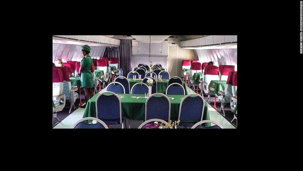 The restaurant, located inside a plane that used to do transcontinental flights, caters for more than 100 customers. <strong><em>Photograph by Michael Milberger/@mmilberger.</strong></em>