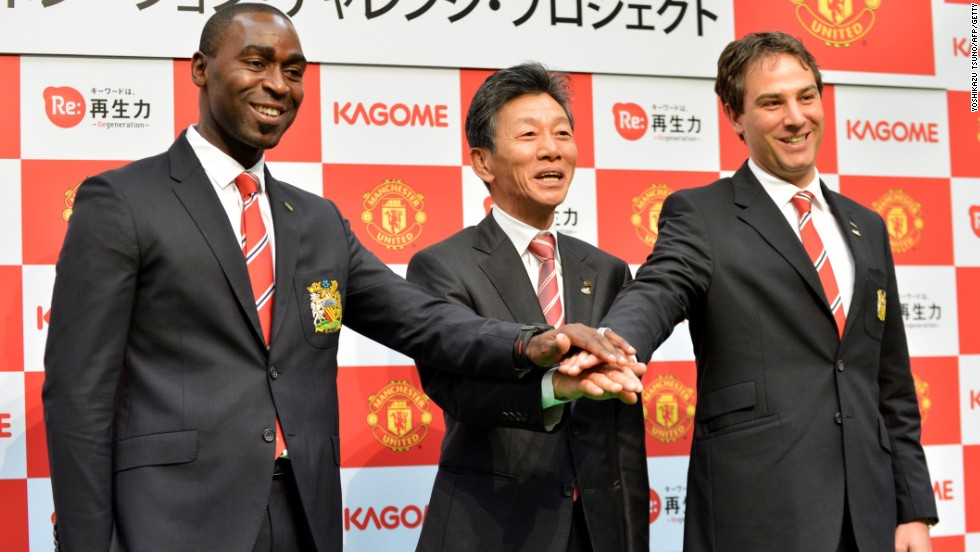 Former United star Andy Cole (left) was on hand to announce a local commercial tie up with Japanese food company Kagome.