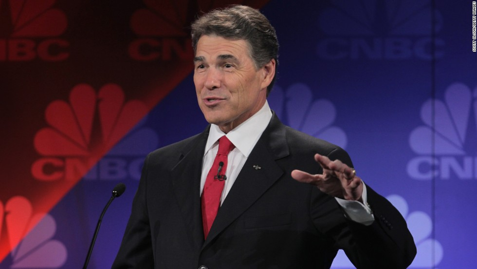 "At a GOP presidential debate on November 9, 2011, Perry fails to remember the third of three agencies he would cut if elected president. With self-deprecation he uttered ""oops,"" a word that has since made him the butt of jokes, including his own."