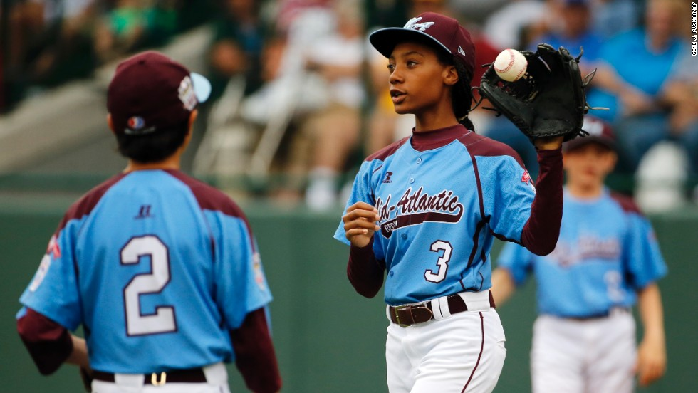 Davis is known for her 70-mph fastballs. She is one of two girls competing in this year's Little League World Series.