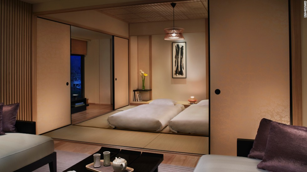 For those who want that ryokan experience, the Ritz-Carlton, Kyoto's corner tatami suite lets guests sleep on traditional futons.