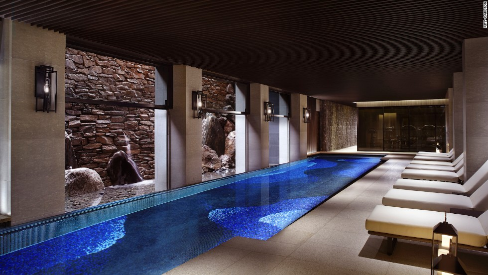 The Ritz-Carlton, Kyoto's design includes a three-tier waterfall that stretches down a wall through several elements of the property, including Mizuki restaurant. It ends in the basement swimming pool.