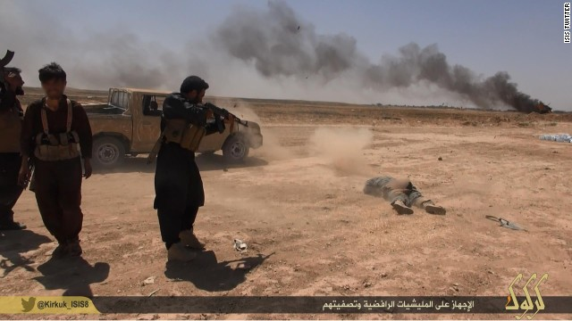e: 	8/8/2014 Headline: 	ISIS shooting a soldier on the ground (graphic) Caption: 	ISIS on a mission to wipe out opposing militias. Uploaded on an ISIS Twitter account on August 8, 2014. Credit: 	ISIS Ready For Publishing: 	Yes Photographer: 	ISIS Source: 	ISIS Country: 	Iraq