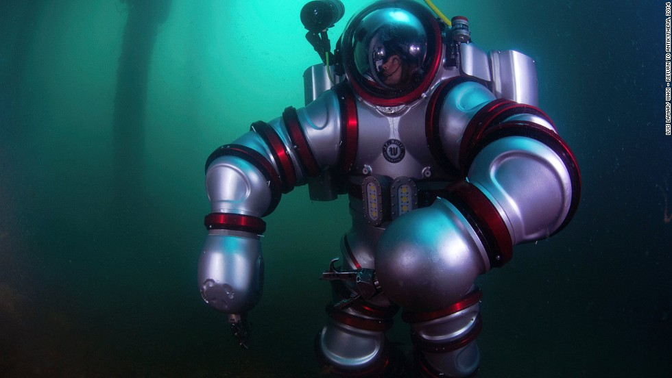 """The team used next-generation diving apparatus, the """"Exosuit.""""  It was designed and created by underwater tech pioneer Phil Nuytten of Canada's Nuytco Research. """"You can literally operate Exosuit after a few hours of training. The majority of the training is spent in emergency drills. But the actual functioning of it is as simple as learning to drive a golf cart,"""" said Nuytten."""