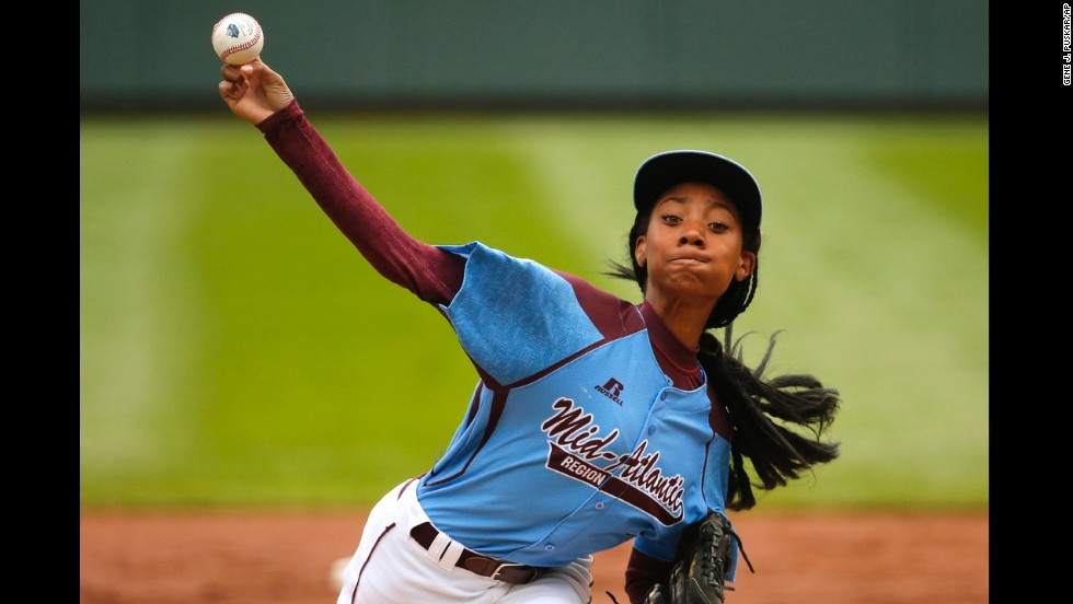 Pennsylvania's Mo'ne Davis delivers in the first inning against Tennessee on Friday, August 15. Davis, 13, became the first female player in Little League World Series history to throw a complete-game shutout.