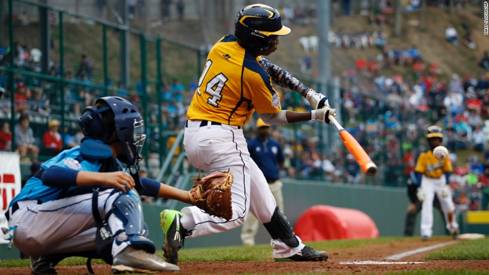 Chicago's Brandon Green drives the ball in the fifth inning of the U.S. championship baseball game against Las Vegas at the Little League World Series on Saturday, August 23, in Williamsport, Pennsylvania. Chicago won 7-5 and will face the international champion, South Korea, for the world championship.