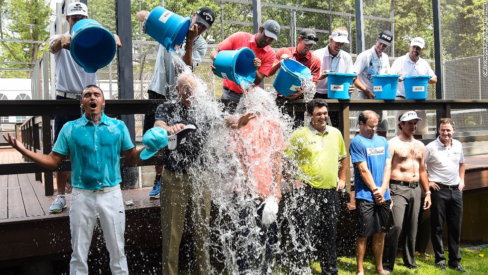 Members of the 2014 United States Ryder Cup Team accept the ALS ice bucket challenge during practice for the Barclays golf tournament at Paramus, New Jersey, on Wednesday, August 20. Team captain Tom Watson challenged, from left, Rickie Fowler, Jim Furyk, Jordan Spieth, Patrick Reed, Zach Johnson, Bubba Watson and Jimmy Walker.