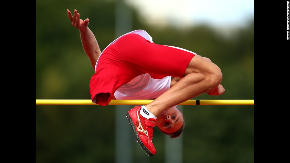 Lukasz Mamczar of Poland competes in the men's high jump on Day 2 of the IPC Athletics European Championships in Swansea, Wales, on Wednesday, August 20.