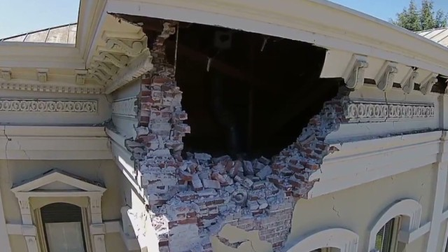 Drone's eye view of earthquake damage