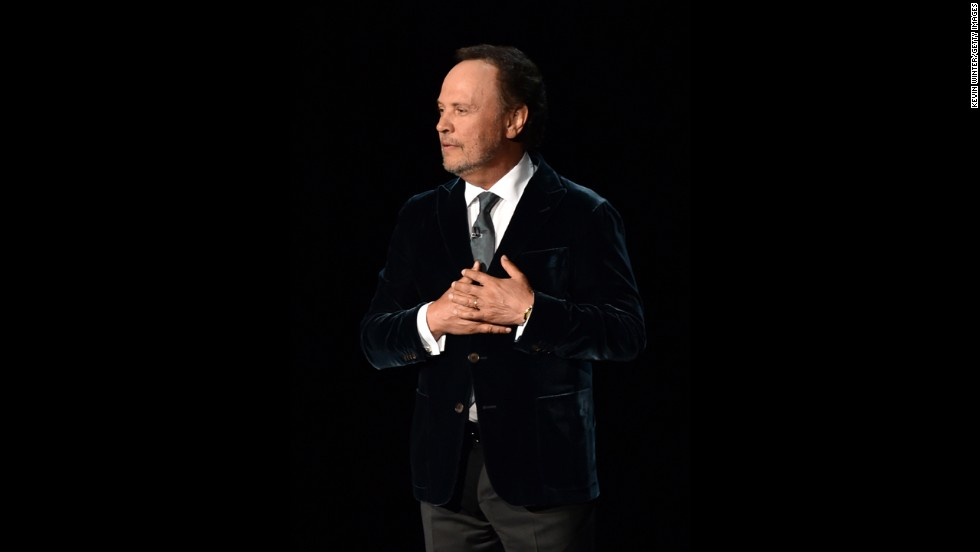"In one of the more somber moments of the night, Billy Crystal gave heartfelt tribute to Robin Williams. ""He made us laugh. Hard. Every time you saw him,"" Crystal said. ""The brilliance was astounding ... It's very hard to talk about him in the past because he was so present in all of our lives. For almost 40 years, he was the brightest star in the comedy galaxy."""