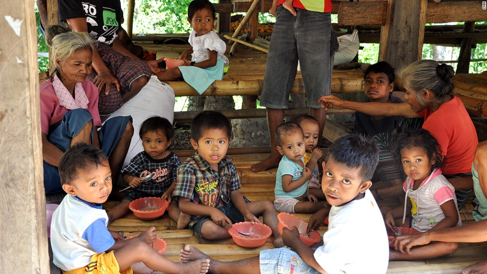 It's estimated half of the children on Sumba are malnourished -- livestock and food are often traded rather than given to children. Of 70 children registered at this malnutrition center, 32 were malnourished. Supported by the foundation, the center provides eggs, bean seeds, milk and rice porridge.