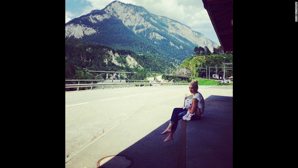 """Singer Gwen Stefani <a href=""""http://instagram.com/p/q35El8OLQI/ """" target=""""_blank"""">breastfeeds her son</a> Apollo in Switzerland."""